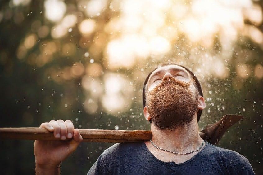 rain falling on beard