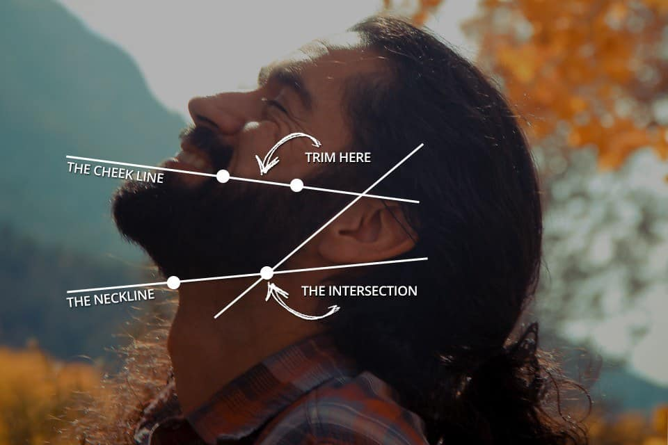 How to trim your beard neckline diagram