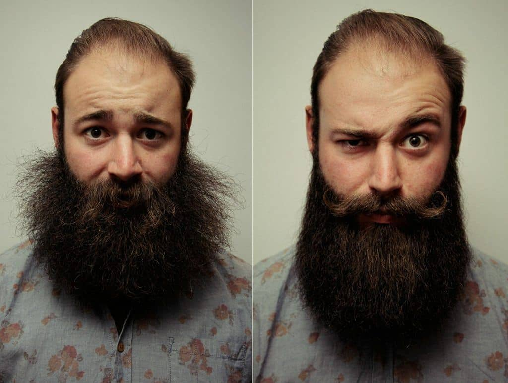 curly beard - before and after