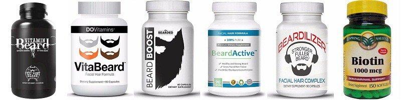 beard vitamin bottles