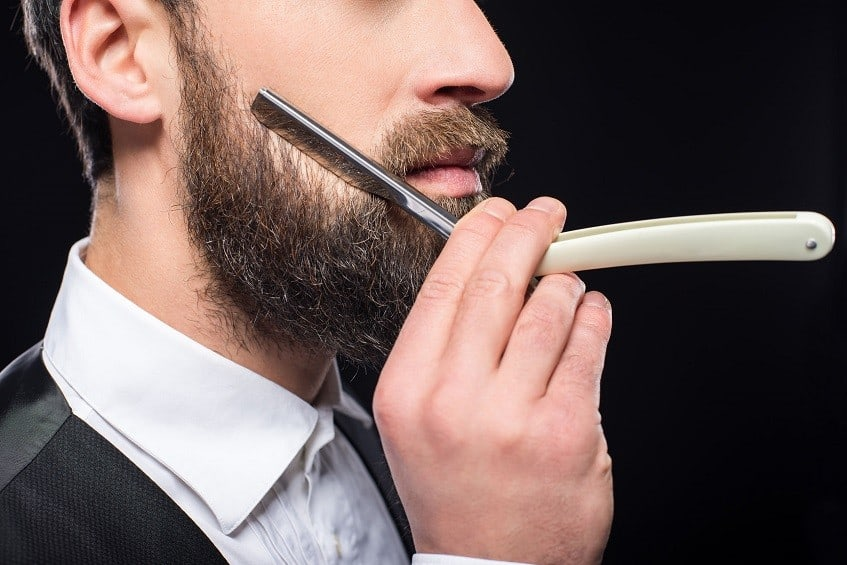 styling beard with straight razor