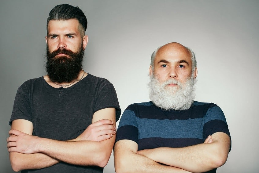 younger and older man full and long beards
