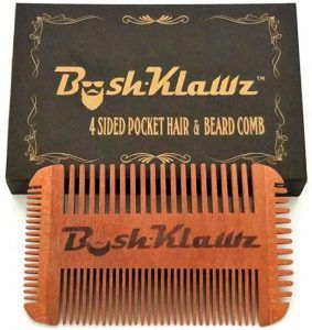 4Klawz Beard Comb - Pocket Comb with 4 Sides of Wide & Fine Teeth