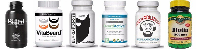 beard vitamin bottles