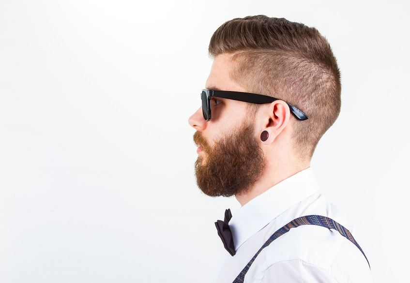 profile of guy with beard fade