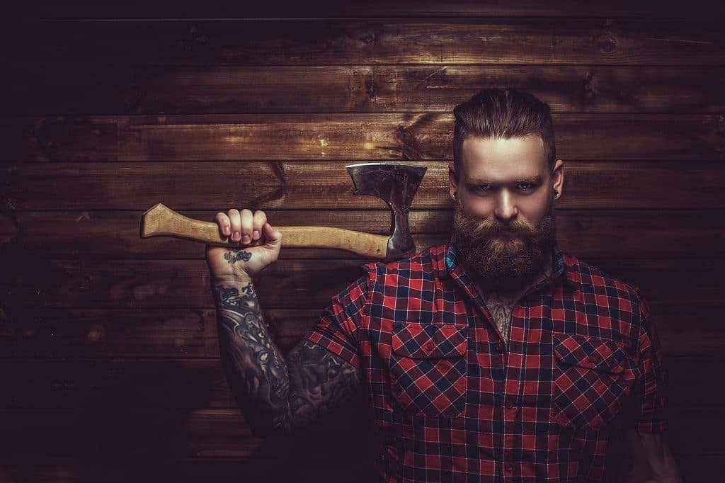 Lumberjack with an ax and beard